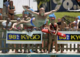 CODER103 - Greg Hoffman shows his winning form as he won the 11th annual Water World Belly Flop...
