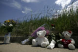 A memorial at the crash site on W 96th Ave., in Westminster, Colo., on Sunday, June 24, 2007. This...