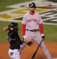 [638]  Boston Red Sox Mike Lowell reacts to a strike thrown by Colorado Rockies pitcher Josh Fogg...