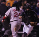 [RMN1280] Colorado Rockies catcher Yorvit Torrealba reacts to Manny Ramirez being called out at...
