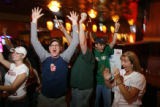 "DM1257   Boston fans cheer at The Elm, one of Denver's ""Red Sox"" bars  after the Red Sox..."