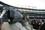 [118} Colorado Rockies pitcher Jeff Francis, is interviewed during team practice Game 4 of the...