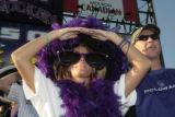[111} Colorado Rockies fans Ann Messenger and her boyfriend Bob Hansen take in the pre game...