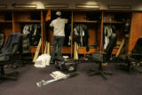 [331} Colorado Rockies Jeff Francis, cleans out his locker, after the Rockies lost Game 4 and the...