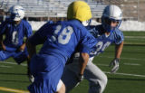 Cornerback for the Falcons Garrett Rybak practices at the Air Force Academy in Colorado Springs,...