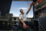 Garrett Rybak sits in his dorm room at the Air Force Academy in Colorado Springs, Colo.  on...