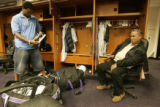 0396 Colorado Rockies Manuel Corpas, left, cleans out his locker with his father (((((Manuel said...