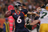 Jay Cutler throws to set up a game tying  field goal in the 4th quarter as the Broncos host the...
