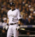 [4732]  Colorado Rockies Troy Tulowitzki walks back to the dugout after striking out in the first...