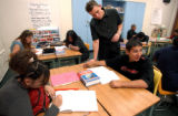 (DENVER, CO. SEPTEMBER 14, 2004) (Foreground Lt. to Rt.) Irene Melendez completes her class work,...