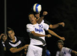 Broomfield's #21 Cole Chapleski Rock Canyon's #13 David Brookman go for a header with RC's #21...
