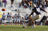 University of Northern Colorado place kicker Zak Bigelow unleashes a 37 yard field goal with 4...