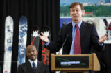 Denver Mayor John Hickenlooper, expresses his excitement for the City of Denver after it was ...