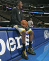 [EPS101] Seattle Sonics rookie Kevin Durant warms up before taking the floor in his first...