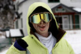 Cody DeDecker (cq) heads out for some boarding, wearing a mask,   at A Basin, Wednesday afternoon,...