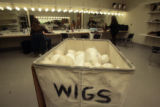 A container of foam heads used for wig fitting, sits in a room, Tuesday afternoon, October 30,...