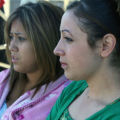 L to R: Marlene Gutierrez (cq), 17, and Christina Hernandez (cq),16, liver two homes away from the...