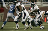 0005 Denver Broncos quarterback Jay Cutler is sacked causing a lower left leg contusion in the...