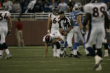 0023 Denver Broncos quarterback Jay Cutler kneels after being sacked in the second quarter against...