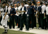 0564 Denver Broncos head coach Mike Shanahan walks the side line Detroit Lions in the fourth...