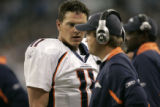 1417 Denver Broncos quarterback Patrick Ramsey reacts on the sideline after fumbling the ball...
