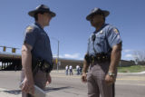 ( UNINCORPORATED  ADAMS COUNTY, CO. , May 23, 2004) CSP officers Rob Marone (left) and CSP Trooper...