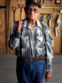 (Cortez, CO. - SHOT 5/18/2004) World War II Army veteran Ray Candelaria, 78, of Cortez shows off...