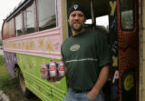 (Lyons, Colo., September 30, 2004) Portrait of Dale Katechis, owner of Oskar Blues Brewery, with a...