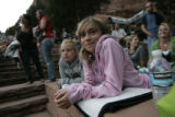 Jasmine Inda (cq) 11, of Eaton, left (laying down in gray sweatshirt), and Kelci Lott (cq), 11 of...