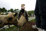 Shelby Payton, 4, (front) and her sister Haylee, 6, ride the 12 year-old  camel Zambee at the...