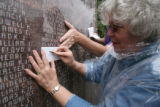Blossom Murphy Merryman, cq, of Wartrace , TN does a rub transfer of her father's name John...