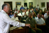 Sen. Ken Salazar meets with opponents of the Pentagon's plan to expand the 238,000 Pinon Canyon...