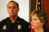 (FT COLLINS, Colo., SEPTEMBER 17, 2004) Fort Collins police Detective Kristy Volesky, speaks to...