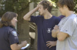 Boulder, Colo.  September 17 2004.   Boulder police, fraternity members, and CU students gather...
