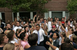 Democratic presidential hopeful U.S. Sen. Barack Obama, D-Ill., dances in the middle of a crowd of...