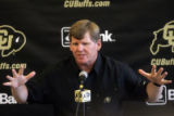 University of Colorado head football coach Dan Hawkins speaks during the CU media day in the Dall...