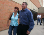 Rafael Mendoza walks outside of the courtroom with his sister Isabel Mendoza after the first day...