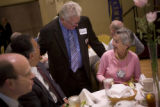 Former Colorado Governor Roy Romer greets Rotarians at the Rotary Club of Des Moines at the Hotel...
