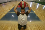 Jason Moen, (cq), upon his basketball court on Friday August 24, 2007 in Westminster, Colo. at...