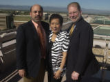 (Denver, CO. SEPTEMBER 17, 2004)  l to r: Fred Miale (Managing Partner of Peliton, LLC..) Linda...