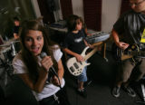 Ashley Prince, (cq) 14 a singer since she was 8 rehearse with Zack Smith,(cq) (far l) 14 on drums...