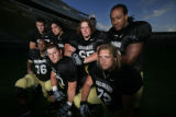 #76 Edwin Harrison, #77 Tyler Polumbus, #72 Devin Head (l-r bottom)and  #87 Riar Geer , #75 Daniel...