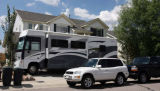 The Brandaw Winnebago parked in the driveway of their home at 11433 Switzer park Lane in Parker on...