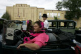 Kay Bluhm (cq), from Denver, sits in her 1929 Model A Ford with her grandchildren Tana Bluhm (cq)...
