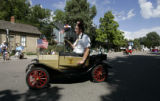 El Jebel Shriner Mark Huskins (cq), rides his little car around on Main Street during the 72nd...