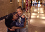 (Denver, Colo., October 7, 2004) Yanis Parra, 9, of Denver, Estrella Guerrero, 7, of Denver, and...