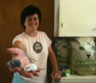 Landlord, Tonya Payne (cq), holds some cat-nip mice that she used in an attempt to catch a cat...