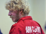 Robert Amos (cq) enters a Park County courtroom in Fairplay Colorado Monday August 13,2007. Amos ,...
