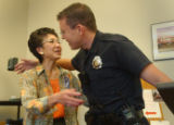 Denver, Co.10/7/04 -- At District 3, 35 years police veteran Patty Jung was honored with a party...