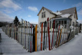 A fence made of old skis surrounds this house in Gunnison, Wednesday morning, December 12, 2007....